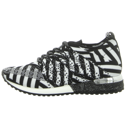 Sneaker - La Strada - Laced up knitted Sneaker - black/white knitted